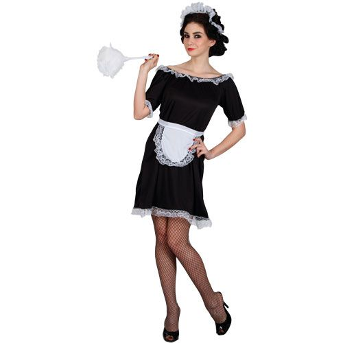 Ladies Classic French Maid Budget Costume for France National Dress Fancy Dress
