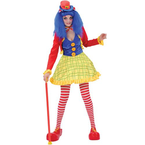 Ladies Coco Clown Girl Costume for Carnival Circus Funfair Fancy Dress Womens
