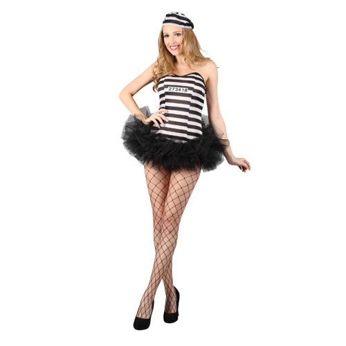 Ladies Convict Cutie Costume for Cops Police Robbers Law Fancy Dress Womens