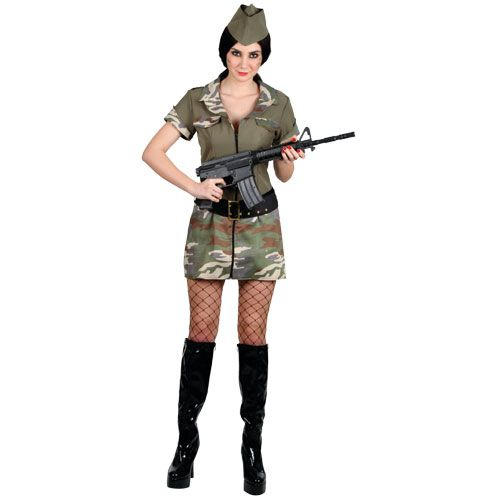 Ladies Corporal Cutie Costume for Military Army Soldiers Fancy Dress Womens