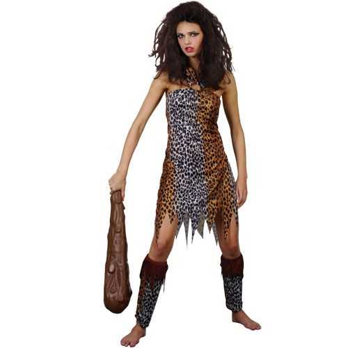 Ladies Crazy Cavewoman Costume for Prehistoric Caveman Fancy Dress Womens
