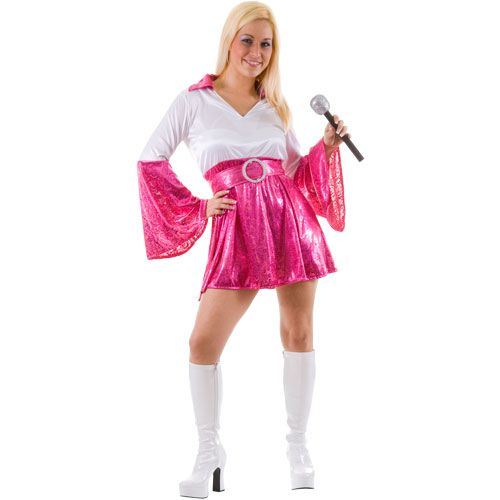 Ladies Dancing Queen Costume for 70s Disco Pop Rock Fancy Dress Womens
