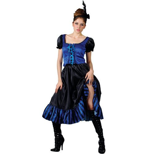 Ladies Dancing Saloon Girl Costume for Cowboy Wild West Fancy Dress Womens