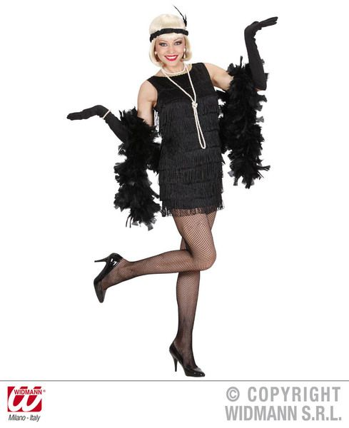 Ladies Deluxe Black Flapper Costume Charlston 20s 30s Moll Boop Ragtime