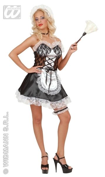 Ladies French Maid Satin/Lace Costume France Frenchmen Fancy Dress Outfit