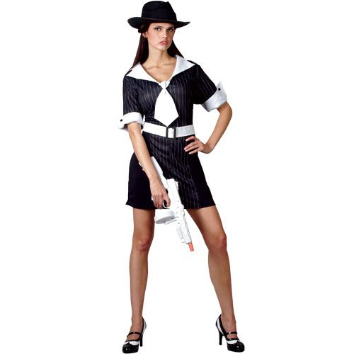 Ladies Gangster Moll Costume for 20s 30s Gangsters Molls Fancy Dress Womens