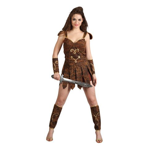 Ladies Gladiator Girl Costume for Ancient Historic Fancy Dress Womens