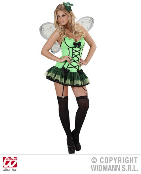 Ladies Green Butterfly Costume Bug Insect Animal Creature Fancy Dress Outfit