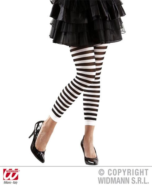 Ladies Leggings Striped Fancy Dress Cosplay Outfit Accessory Halloween Wednesday