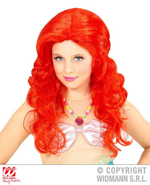 Ladies Mermaid Wig In Polybag Sea Princess Fish Lady Mythical Legend Fancy Dress