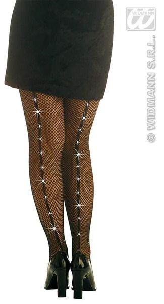 Ladies Pantyhose Fishnet Black W/Rhinestones Lingerie Nylons Fancy Dress