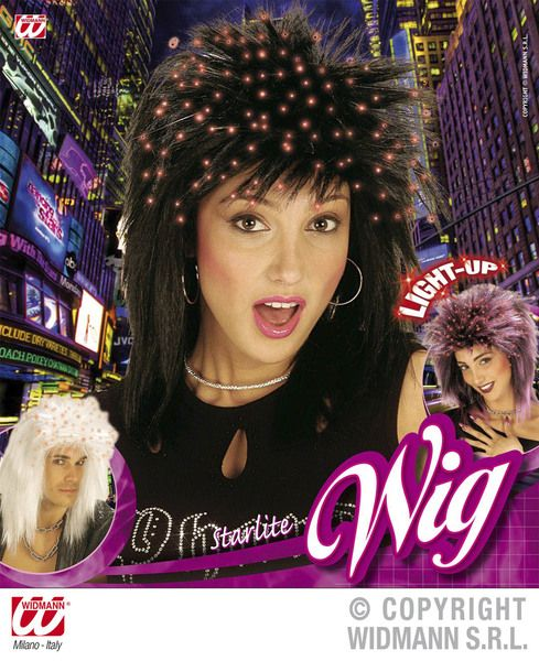Lite Up Starlite Wig Fancy Dress Glow Party Cosplay Accessory