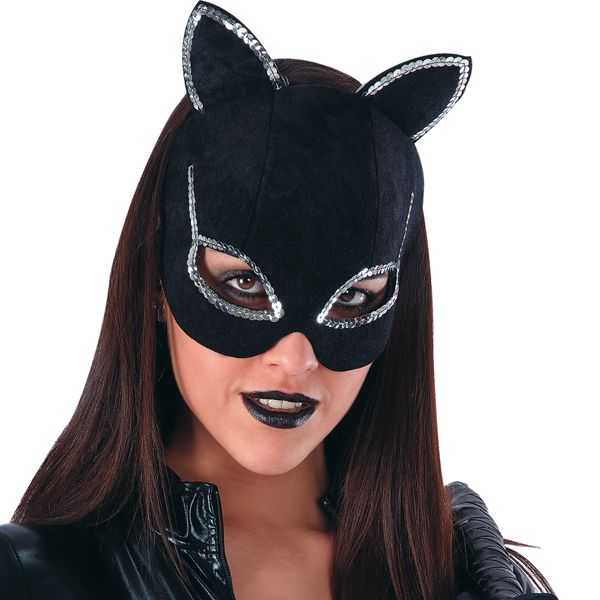 Mask Half Face Velvet Cat with Silver Pussy Pet Animal Feline Witch