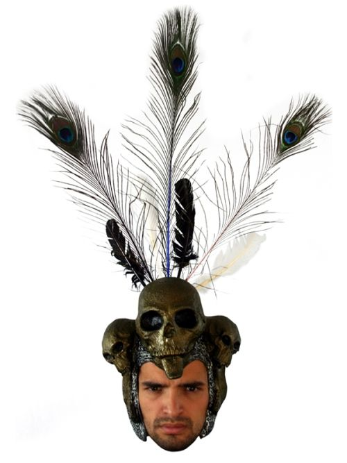 Mask Helmet Wanka Tanka with Feathers Indian