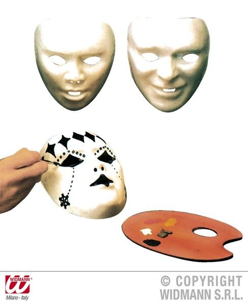 Mask Paintable White Plastic Fancy Dress
