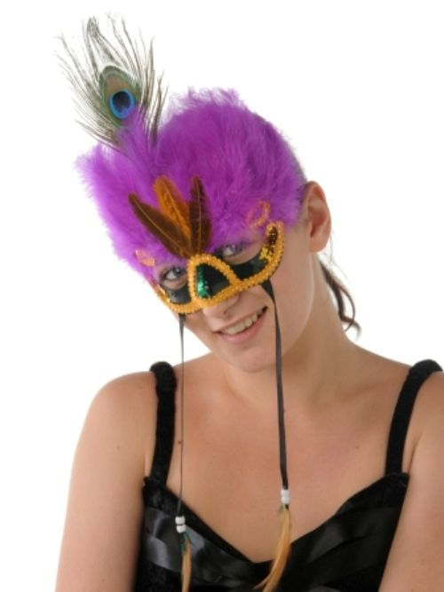 Masquerade Mask Feather Eye Fluffy Nose shape 2 Des Disguise Mask