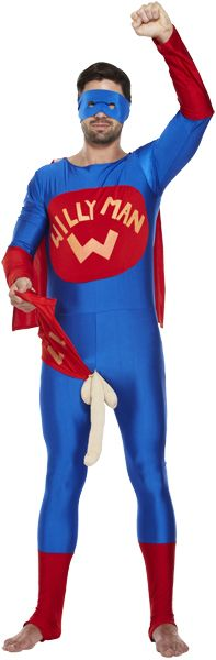 Mens Adult Willy Man Fancy Dress Costume for Funny Superhero Stag Night Outfit
