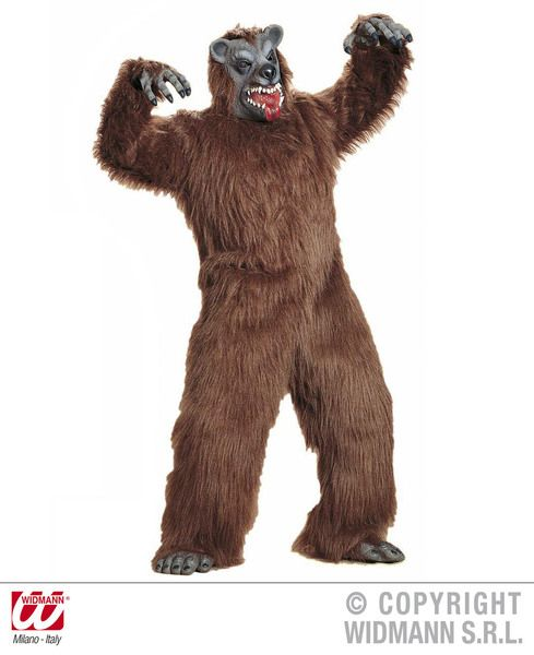 Mens Brown Bear Plush Costume Baloo Animal Grizzly Fancy Dress Cosplay Outfit