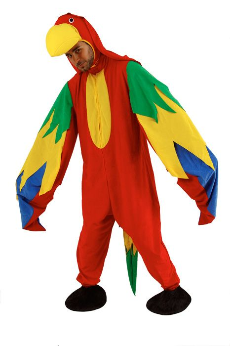 Mens Costume Mascot Parrot Paradise Bird Pirate Pet Polly Animal