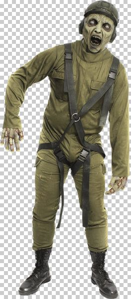 Mens Costume & Mask Mayday Uniform Zombie Halloween Walking Dead Trick Or Treat