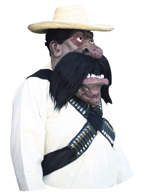 Mens Costume & Mask Zapata Mexican Hombre Cowboy Western Mexico