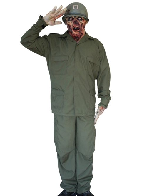 Mens Costume & Mask Zombie Soldier Halloween Walking Dead Trick Or Treat
