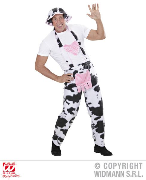 Mens Cow Overalls Costume Dairy Farm Rodeo Cattle Jersey Steak Fancy Dress