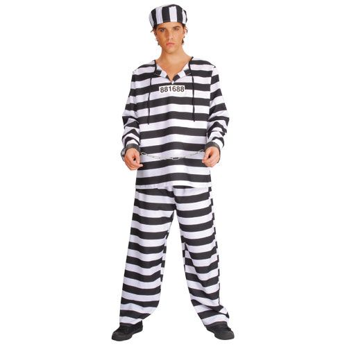 Mens Deluxe Chain Gang Convict Costume for Cops Police Robbers Law Fancy Dress