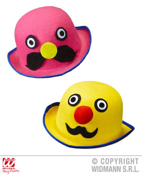 Mens Felt Mr. Moustache Bowler Pink/Yellow Hat Hardy Laurel Victorian Banker