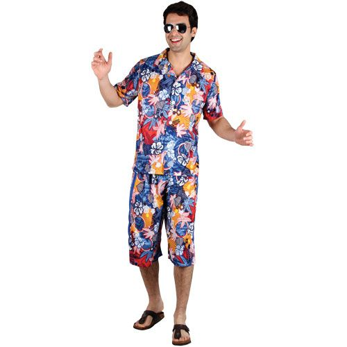 Mens Hawaiian Party Guy Costume for Magnum 80s Fancy Dress Mans Male
