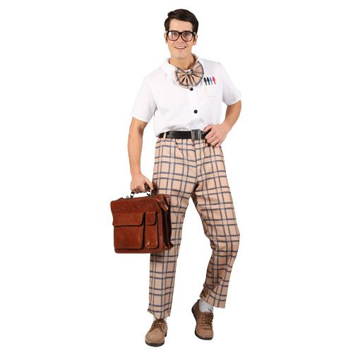 Mens High School Nerd Guy Costume for College Fancy Dress Mans Male