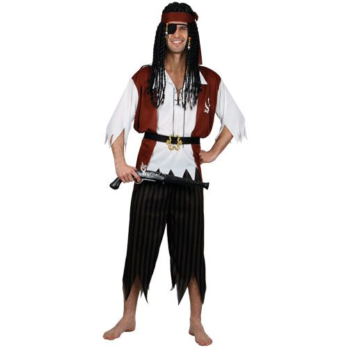 Mens High Seas Pirate Costume for Sea Buccaneer Fancy Dress Mans Male