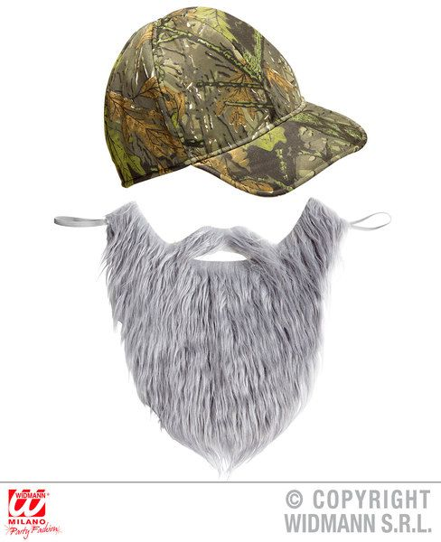 Mens Hunter Cap & Beard Hat Sniper Redneck Fancy Dress