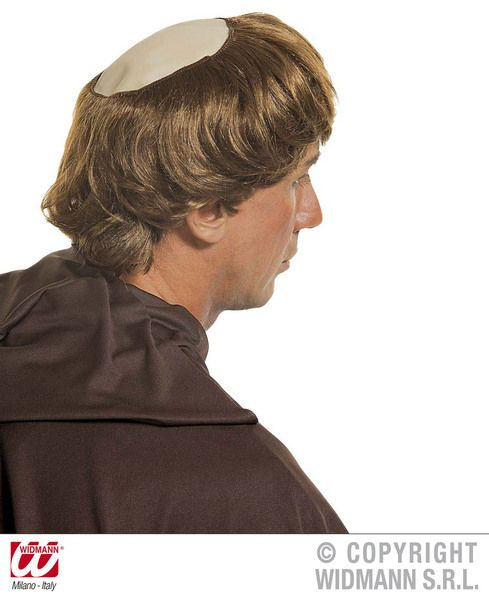 Monk Baldhead With Hair Holy Friar Tuck Bishop Father Fancy Dress