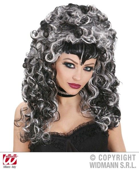 Morticia Evilicious Wig In Box Black And White Halloween Fancy Dress
