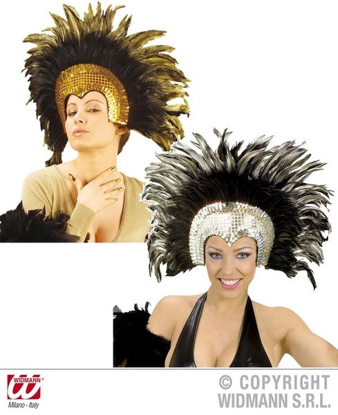 Moulin Rouge Feathered Headdress Gold Or Silver Hat Baroque Dancer Showgirl