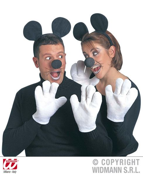Fancy Dress Mickey Mouse Headband Nose Gloves T shirt Kit Mens Cartoon Ears