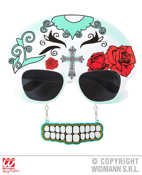 Mujer Dia De Los Meurtos Glasses for Mexican Photobooth Fancy Dress Accessory