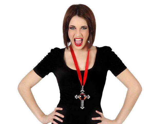 Necklace Vampire Cross 12cms Halloween Dracula Vamp