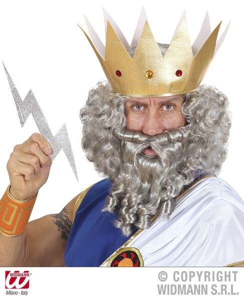 Neptune Zeus Character Curly Wig/ Beard Grey Ocean King God Merman Mermaid