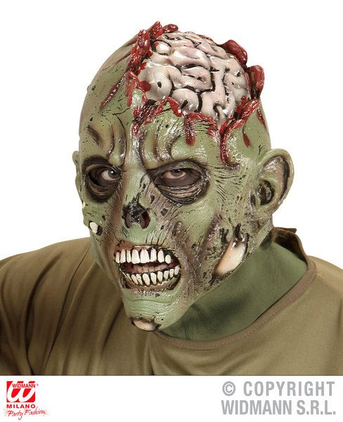 Open Brain Zombie Full Head Mask Zombie Halloween Body Part Fancy Dress