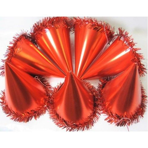 Pack of 100 Red Foil Party Hats Cone & Tinsel Birthday Christmas New Years Event