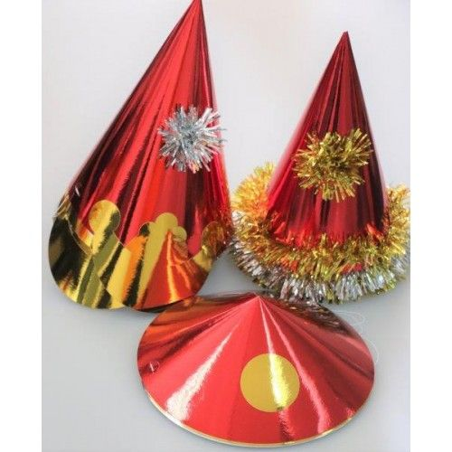 Pack of 50 Assorted Red Foil Party Hats Birthday Christmas New Year's Event