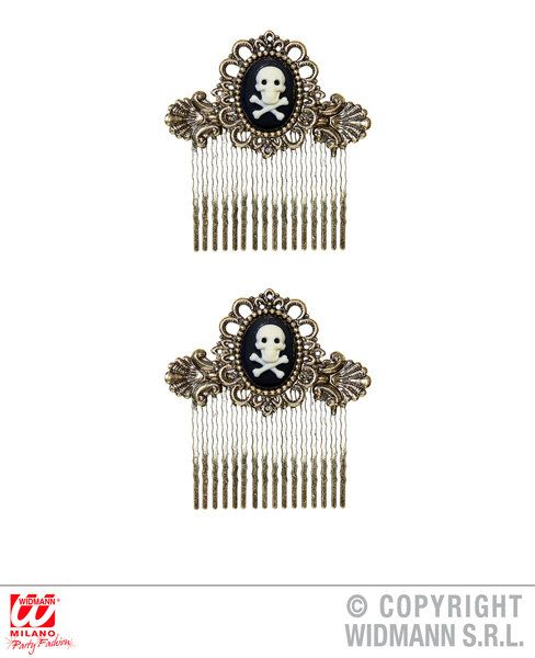 Pair Of Antiquated Gold Skull & Cross Bones Hair Combs Pirate Halloween Skeleton