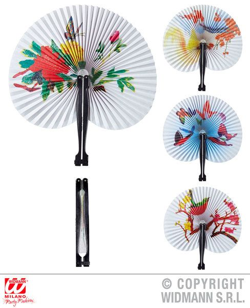 Paper Fan 23cm 4 Styles Ass. Far East Chinese Japanase Orient Fancy Dress