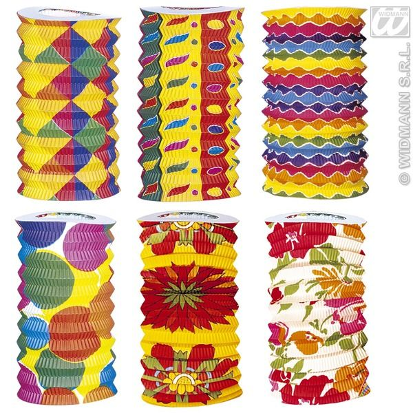 Paper Lanterns Printed 15cm x 22cm 6 Colours Party Decoration