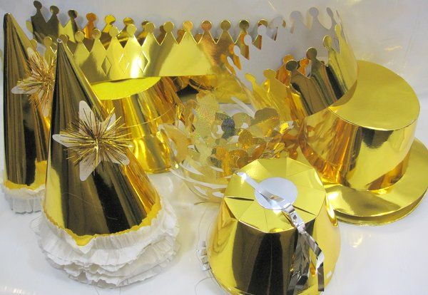 Party Hats Foil Gold with White 25's New Years Christmas Birthday Table