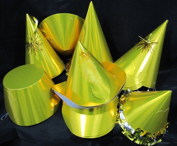 Party Hats Shaped Foil Gold 50s Rockabilly Rock n Roll 50s