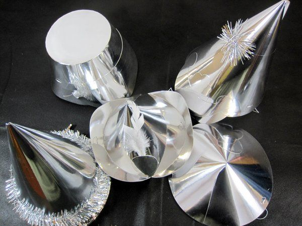 Party Hats Shaped Foil Silver 50s Rockabilly Rock n Roll 50s