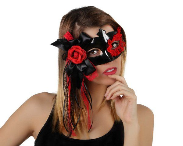 Party Mask Black decorated with Flowers Day of the Dead